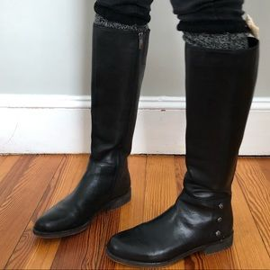 Franco Sarto black leather riding boots 7